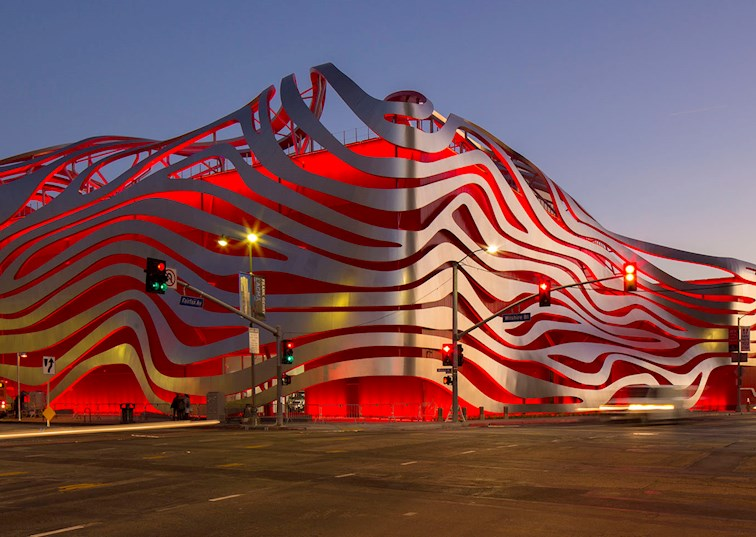 two wide petersen automotive museum exterior feature