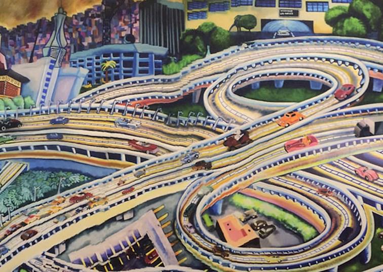 two wide fwy so cal freeway mural petersen