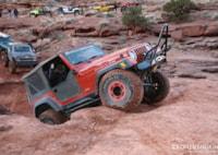 two wide jeep wrangler rubicon tj moab utah lead front three quarter
