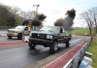 two wide 001 ford diesel drag race