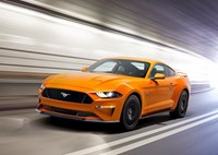 two wide new ford mustang v8 gt with performace pack in orange fury feature